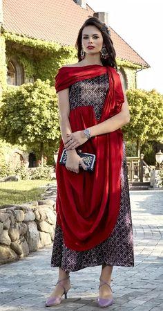 Kurti Designs Party Wear, Kurta Designs, Western Outfits For Women, Clothes For Women, Western Kurtis Design, Ethnic Fashion, Indian Fashion, Indo Western Kurti, Bias Cut Dress