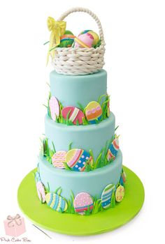 Bake these easy Easter Cakes and make your Easter party awesome. Easter cake ideas for 2019 are here. Easter Egg Cake, Easter Cupcakes, Easter Cookies, Easter Treats, Easter Cake Fondant, Pink Cake Box, Desserts Ostern, Spring Cake, Novelty Cakes