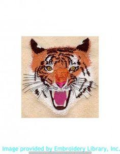 Stickmotiv Stickbild Aufnäher Stickerei Emblem Asien Tiger Tiger / Stickerei Roaring Tiger (M1067)