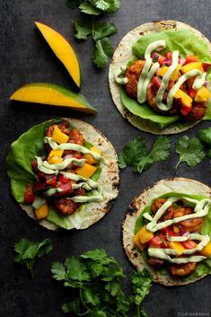 Blackened Shrimp Tacos with Avocado Crema and Mango Salsa