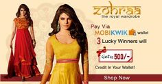 Pay via Mobikwik and three lucky winners can win Rs. 500 in your Mobikwik wallet! Offer valid till 7th Aug 2014