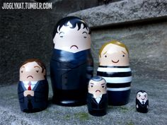 Sherlock nesting dolls. How funny that Watson and Jim are the only ones smiling. They should have done tan, cheesy LeStrade ;)