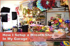 How I Setup a Wreath Shop In My Garage by SouthernCharmWreaths. I love working from home. This video gives you a walking tour of my wreath shop setup. #craftroom #organize #workspace