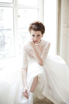 Chantilly lace wedding gown