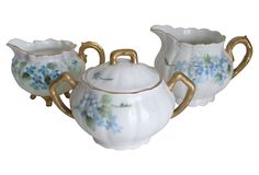 1910-1950 Limoges Creamers & Sugar Bowl from Austria