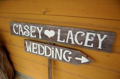 Custom Wedding Signs LARGE FONT Hand painted Signs on Reclaimed Wood. Wedding Road signs on Post via Etsy