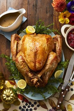 This Thanksgiving, wow your family and friends with this delicious dry-brined lemon-rosemary roasted turkey. Dry brining your turkey keeps the meat moist, while giving it extra-crispy skin. Christmas Main Dishes, Christmas Dinner Menu, Christmas Dinners, Holiday Meals, Dessert Party, Easy Holiday Recipes, Christmas Recipes, Christmas Ideas, Christmas Foods