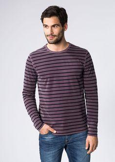 MARC O'POLO, Heren, Kleding, Longsleeves / Sweaters, Longsleeve, met streepjespatroon