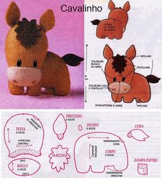 DIY Kawaii Felt Horse / Foal with FREE Sewing Pattern / Template looks more like a donkey to me, but very cute. Sewing Toys, Sewing Crafts, Sewing Projects, Felt Projects, Felt Animal Patterns, Stuffed Animal Patterns, Felt Diy, Felt Crafts, Sewing Patterns Free