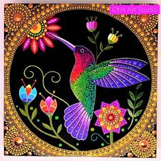 Anna's Hummingbird - Original Artwork on wood panel - Salvabrani Mandala Art, Mandala Design, Mandala Rocks, Mandala Painting, Dot Art Painting, Stone Painting, Painting With Dots, Original Artwork, Original Paintings