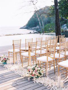 pink and gold ceremony decor - http://ruffledblog.com/intimate-thailand-resort-wedding