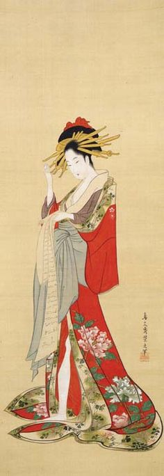 """Standing Beauty"" by CHOBUNSAI Eishi (1756~1829), Japan 鳥文斎栄之「立美人図」 http://www.tekisuiken.or.jp/collection/ukiyoe/u.215.html"