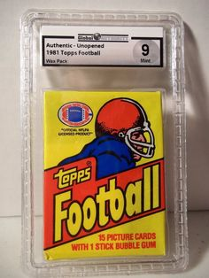 1981 Topps Football Pack GAI Graded Mint 9 Monk, Montana RC NFL Collectible #NFLCollectible