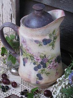 """Графины, кувшины ручной работы. Ярмарка Мастеров - ручная работа. Купить """"Blackberries""""  Кувшин.. Handmade. Кувшин, деревенский"""