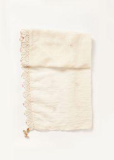 Sheer Daisy Dot Scarf in White
