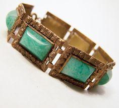 Art Deco Czech Green Peking Glass Bracelet by GretelsTreasures