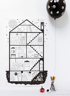 Giant free printable Halloween Haunted House coloring page | Mr Printables