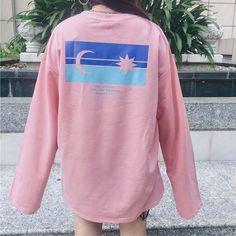 07a89931 US $16.5  Aliexpress.com : Buy Moon Star Womens T shirts 2018 Autumn Kpop Tshirt  Korean Style Ulzzang Harajuku Printed Sweet Pink Aesthetic Female Casual ...