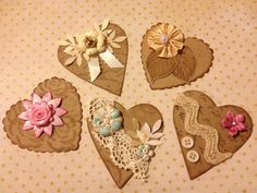 Hearts Shabby Chic Embellishments Scrapbooking Cards by StuffDepot, $2.95