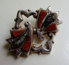 Victorian Scottish Agate Silver Brooch