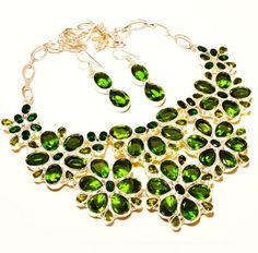 Indian Jewellery – Peridot 925 Sterling Silver Necklace & Earr... – a unique product by IndianCraftPalace on DaWanda