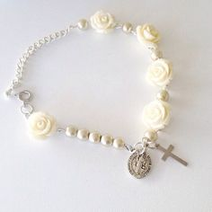 3//4 inch Crucifix 1//2 inch Our Guardian Angel Charm Sterling Silver 4mm Freshwater Cultured Pearl 6-3//4 Rosary Bracelet
