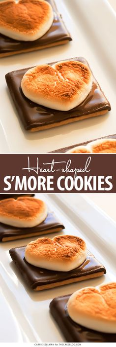 Heart Shaped S'more Cookies - a super easy, 3 ingredient Valentines treat that takes less than 10 minutes! | by Carrie Sellman for TheCakeBlog.com