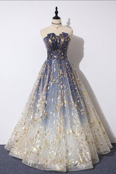 Buy Charming Blue Floral Print Tulle Strapless Long A Line Prom Dresses, Dance Dresses online.Shop short long ombre prom, homecoming, bridesmaid evening dresses at Couture Candy Cocktail party dresses, formal ball gowns in ombre colors. Pretty Prom Dresses, A Line Prom Dresses, Tulle Prom Dress, Dance Dresses, Ball Dresses, Elegant Dresses, Sexy Dresses, Tulle Lace, Wedding Dresses