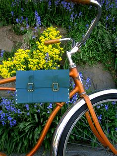 SALEForest green leather bike bag by TutsandcrasH on Etsy, $25.00