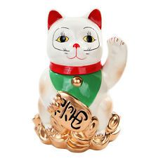 Maneki Neko Lucky Cat Ceramic Cookie Jar Set Kitchen Decor