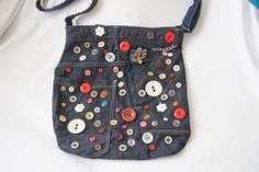 Blue Jean with Button Recycled jean bag  by SpecialFabrics on Etsy