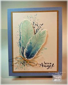 """Make coral - Gina K """"Fine Feathers"""" Kirigami, Paper Cards, Diy Cards, Feather Cards, Paper Feathers, Leaf Cards, Watercolor Feather, Sympathy Cards, Greeting Cards"""