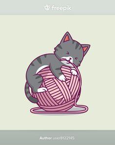 Cute cat playing yarn ball cartoon illus... | Premium Vector #Freepik #vector