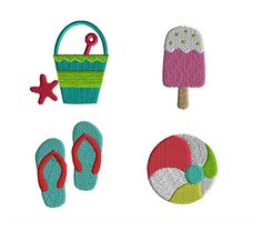 4 Mini Summer Filled Stitch Machine Embroidery by SewChaCha