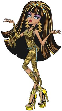 Cleo de Nile is a 2010/2016-introduced and all-around character. She is a mummy and a student at Monster High. She's the queen bee at school, and the most popular girl, as her status as an undead Egyptian princess gives her relevancy over the others. Daughter of Ramses de Nile, she was second in heir to be a pharaoh, if it wasn't for the fact that she died and she has an older sister Nefera de Nile. She lives in a palace-like temple with hundreds of loyal servants in the middle o...