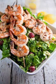 Summer Salad with Grilled Shrimp - pair with Martin Ranch Winery Sauvignon Blanc
