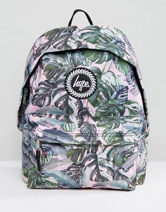 0a519646b7 Hype Exclusive Pastel Garden Palm Print Backpack at asos.com. Stylish School  BagsNew ...