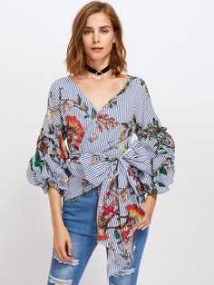 SHEIN Gathered Sleeve Mixed Print Surplice Wrap Top Three Quarter Length Puff Sleeve V Neck Striped Floral Blouse Gender: WomenSleeve Length(cm): Three Quarte Floral Tops, Floral Stripe, Women Sleeve, Wrap Blouse, Ruffle Blouse, Mixing Prints, Sleeve Styles, Blouses For Women, Ideias Fashion