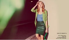 city brights emerald leather pencil skirt by Malene Birger