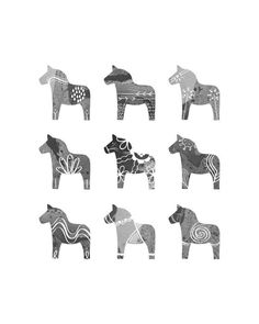 Swedish Dala Horse Print - 8 x 10 - Scandinavian Print - Monochromatic Gray Black and White via Etsy