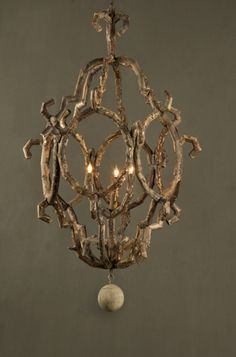 twig chandelier.....wow!  Out of leftover willow tree?! :)