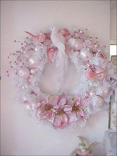 Christmas Pink Wreath 3 Birds By Enchanted Rose Studio Via Flickr Shabby Chic