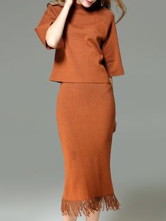 Shop Midi Dresses - Camel Plain Simple Fringed Midi Dress online. Discover unique designers fashion at StyleWe.com.