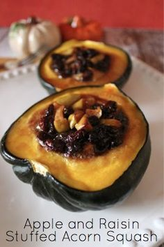 Simple and inexpensive recipe for Apple and Raisin Stuffed Acorn Squash. #recipes