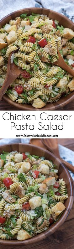 Pasta salad meets green salad in this tasty Chicken Caesar Pasta Salad. A great … Pasta salad meets green salad in this tasty Chicken Caesar Pasta Salad. A great summer BBQ side but hearty enough to serve for dinner on it's own. Chicken Caesar Pasta Salad, Chicken Pasta, Caesar Salad, Chicken Salads, Cold Pasta Salads, Chicken Side Dishes, Cold Pasta Recipes, Pasta Lunch, Chicken Wontons