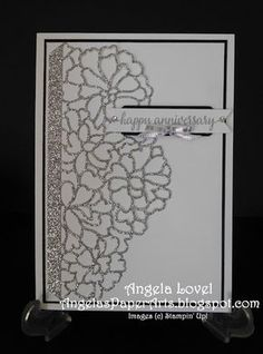 This anniversary card features the Stampin' Up! So In Love stamp set and So Detailed thinlits from the Occasions 2017 catalogue.  They can be purchased separately or as bundle (& save 10% off RRP) from here:  http://www3.stampinup.com/ECWeb/default.aspx?dbwsdemoid=4011749   #angelaspaperarts  #Occasions2017