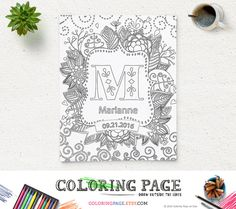 Printable Coloring Page Baby Name Initial Art Nursery Art Decor Baby Birthday Wall Art Personal Letter Monogram Design Family Crest Monogram