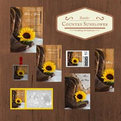 Country Sunflower Wedding Invitations, Save the Date Announcements, Greeting Cards and Personalized Gifts. Perfect for your casual yet classy shabby chic rural country farm, rustic barn, ranch or western wedding theme.