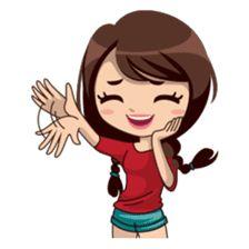 Alice in daily version – Stickers LINE Love Cartoon Couple, Cute Cartoon Pictures, Cute Cartoon Girl, Cute Love Cartoons, Pop Stickers, Anime Stickers, Cute Little Drawings, Cute Drawings, Girl Emoji