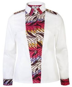 Stylish ladies African print shirt. Contrast collar, placket and centre front panel in African print wax. Great office to evening shirt 100% Cotton,15% Polyester OHEMA OHENE LEADERS IN CONTEMPORARY AFRICAN FASHION  Like this:Like Loading...